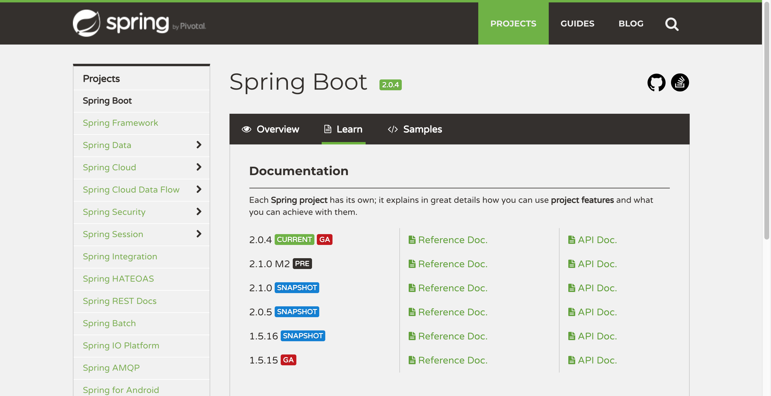 spring boot current release